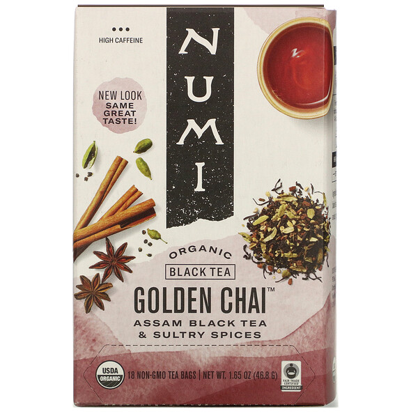 Organic Black Tea, Golden Chai, 18 Tea Bags, 1.65 oz (46.8 g)