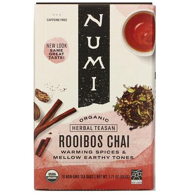 Numi Tea Organic Herbal Teasan, Rooibos Chai, Caffeine Free, 18 Tea Bags, 1.71 oz (48.6 g)