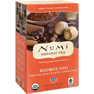 Numi Tea, 有機茶,草本茶,洛依柏絲茶,不含咖啡因,18 包茶包,1.71 盎司(48.6 克)