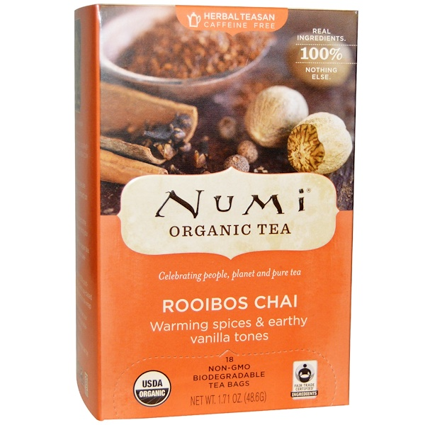 Numi Tea, Organic, Herbal Teasans, Rooibos Chai, 18 Tea Bags, 1.71 oz (48.6 g)