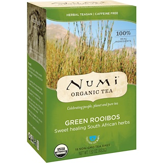 Numi Tea, Organic Tea, Herbal Teasan, Green Rooibos, Caffeine Free, 18 Tea Bags, 1.52 oz (43.2 g)