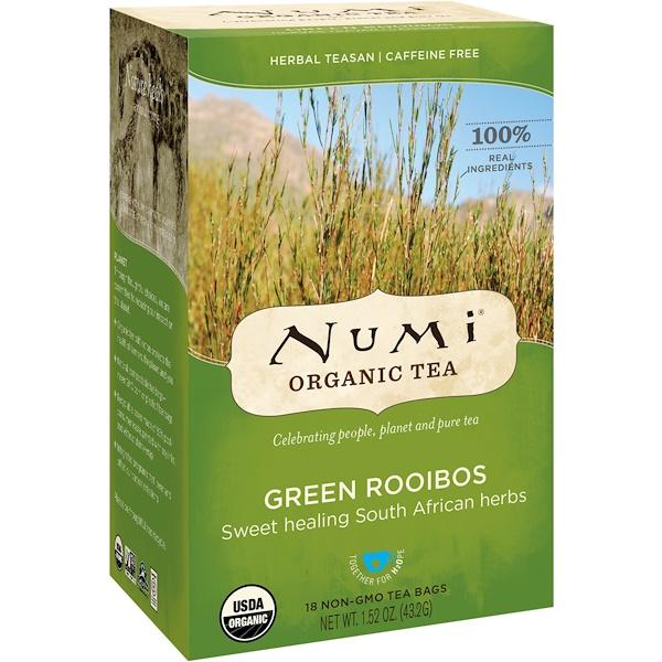 Numi Tea, オーガニック ティー、ハーバル ティーサン、グリーン ルイボス、カフェインレス、ティーバッグ18個入り、1.52 oz (43.2 g) (Discontinued Item)