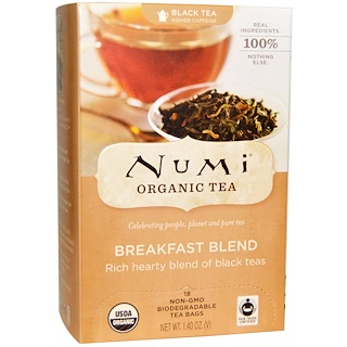 Numi Tea, Organic Black Tea, Breakfast Blend, 18 Tea Bags, 1.40 oz Each