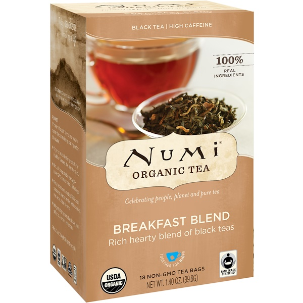 Numi Tea, Organic Tea, Black Tea, Breakfast Blend, 18 Tea Bags, 1.40 oz (39.6 g) (Discontinued Item)
