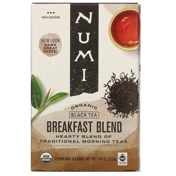 Numi Tea, Organic Black Tea, Breakfast Blend, 18 Tea Bags, 1.40 oz (39.6 g) (Discontinued Item)