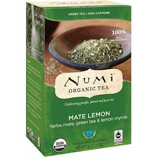 Numi Tea, Organic Tea, Green Tea, Mate Lemon, 18 Tea Bags, 1.46 oz (41.4 g)