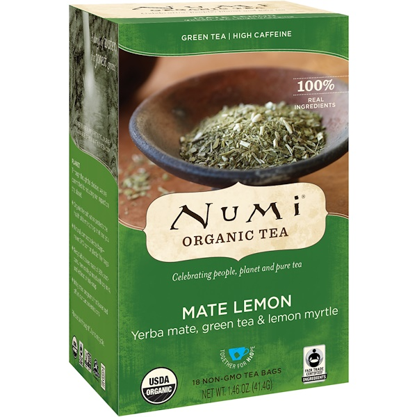 Numi Tea, Organic Tea, Green Tea, Mate Lemon, 18 Tea Bags, 1.46 oz (41.4 g)