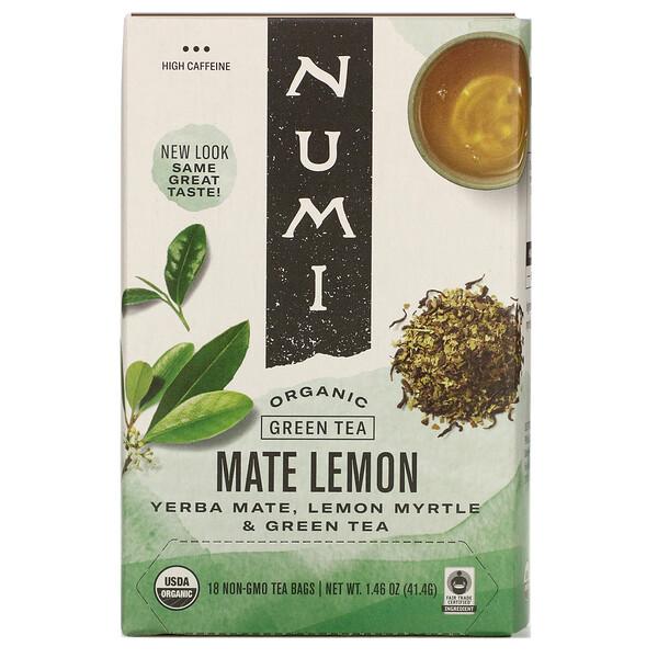 Numi Tea, Organic Green Tea, Mate Lemon, 18 Tea Bags, 1.46 oz (41.4 g) (Discontinued Item)