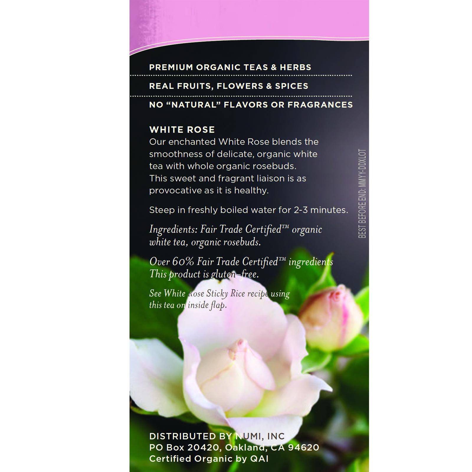 Numi Tea Organic Tea White Tea White Rose 16 Tea Bags 113 Oz