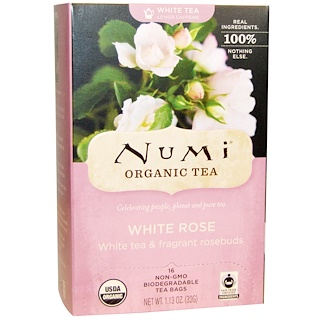 Numi Tea, Organic White Rose Tea, 16 Tea Bags, 1.13 oz (32 g)