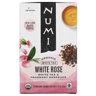 Numi Tea, Té orgánico, té blanco, rosa blanca, 16 bolsitas de té, 1.13 oz (32 g)