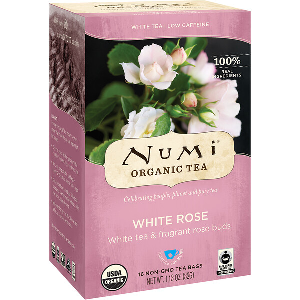 Numi Tea, Organic Tea, White Tea, White Rose, 16 Tea Bags, 1.13 oz (32 g)