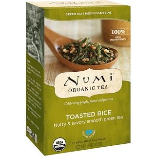 Numi Tea, Organic Tea, Green Tea, Toasted Rice, 18 Tea Bags, 1.65 oz (46.8 g) Each