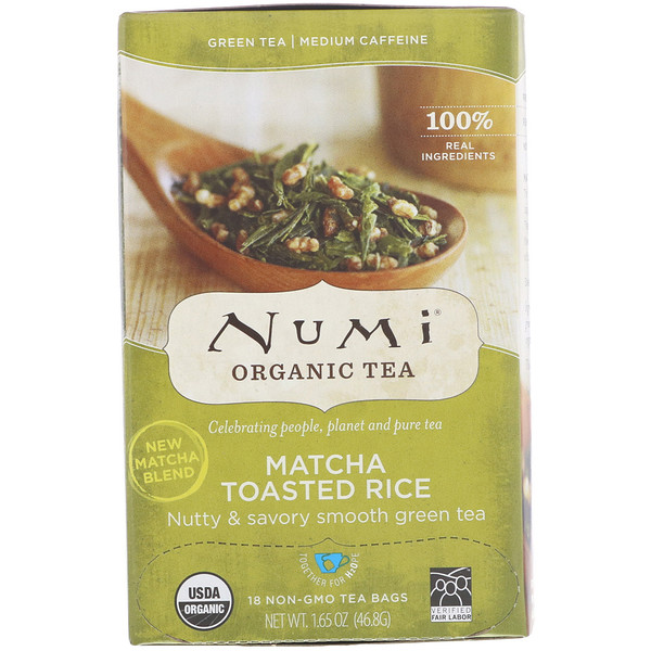 Numi Tea, Organic Tea, Green Tea, Matcha Toasted Rice, 18 Non-GMO Tea Bags, 1.65 oz (46.8 g) Each