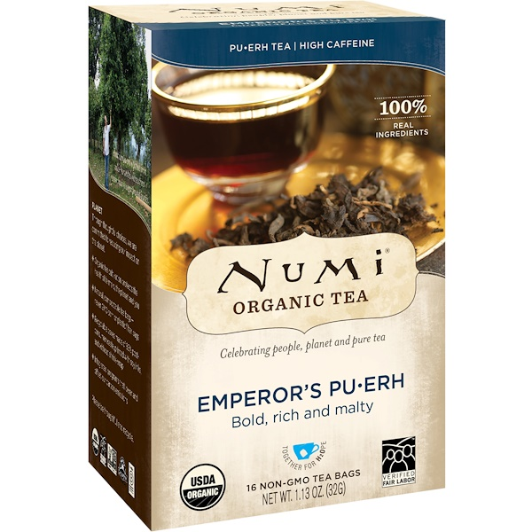 Numi Tea, 有機茶,普洱茶,君主普洱茶,16 茶包,1、13 盎司(32 克)