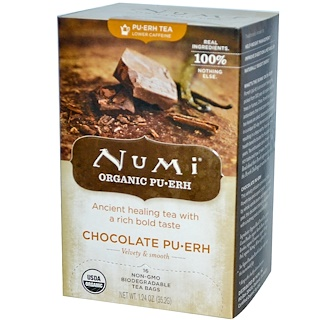 Numi Tea, Organic, Chocolate Pu-Erh, 16 Tea Bags, 1.24 oz (35.2 g)