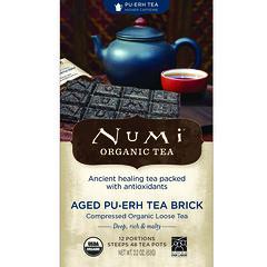 Numi Tea, 有機茶,普洱茶,熟普茶磚,2.2 盎司(63 克)