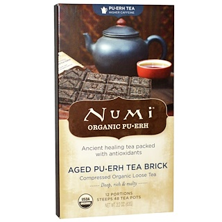 Numi Tea, Органический чай пуэр, высокое содержание кофеина, плитка зрелого чая пуэр, 2,2 унции (63 г)