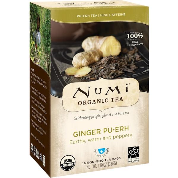 Numi Tea, Organic Tea, Pu-erh Tea, Ginger Pu-erh, 16 Tea Bags、 1、19 oz (33、6 g)