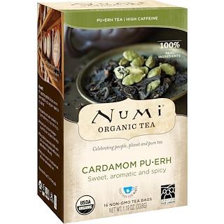 Numi Tea, オーガニックプーアル茶、カルダモンプーアル、16ティーバッグ、1.19オンス (33.6 g)
