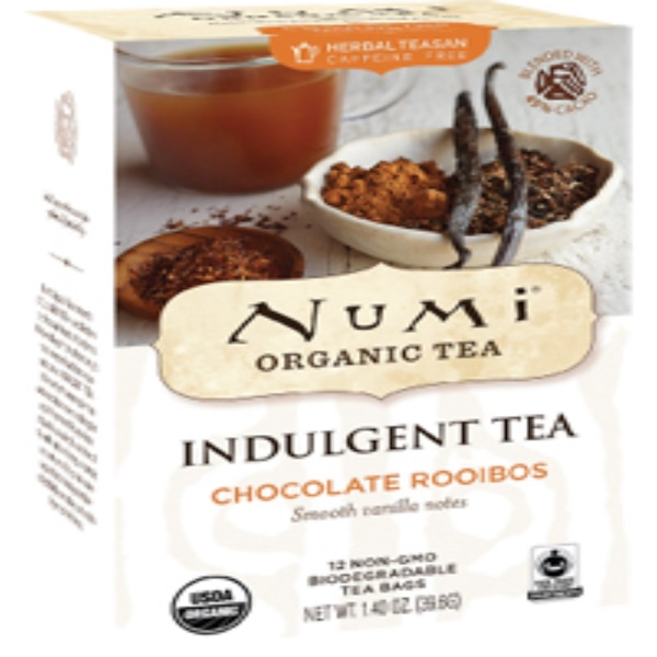Numi Tea, Organic, Indulgent Tea, Chocolate Rooibos, 12 Tea Bags, 1.40 oz (39.6 g)