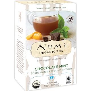 Numi Tea, Organic Tea, Herbal Teasan, Chocolate Mint, 12 Tea Bags, 1.38 oz (39 g)