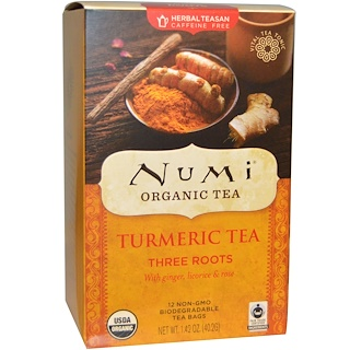 Numi Tea, Organic Turmeric Tea, Three Roots, Caffeine Free, 12 Tea Bags, 1.42 oz (40.2 g)