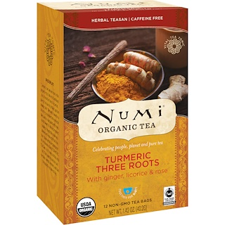 Numi Tea, Organic Tea, Herbal Teasan, Turmeric Three Roots, Caffeine Free, 12 Tea Bags, 1.42 oz (40.2 g)