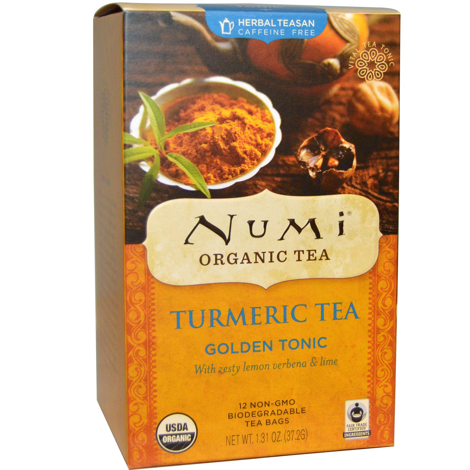 Numi Tea, OrganicTurmeric Tea, Golden Tonic with Zesty Lemon Verbena & Lime, 12 Tea Bags, 1.31 oz (37.2 g) Each