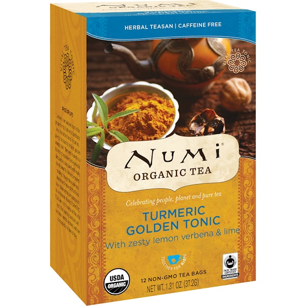 Numi Tea, Organic Tea, Herbal Teasan, Turmeric Golden Tonic, Caffeine Free, 12 Tea Bags, 1.31 oz (37.2 g) (Discontinued Item)