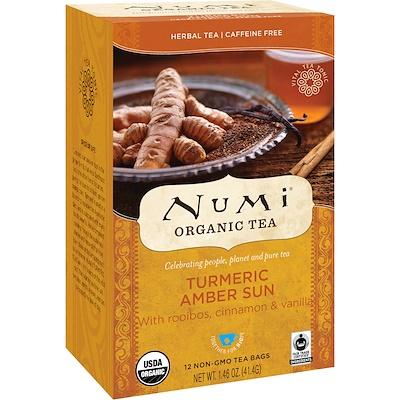 Numi Tea 有機茶,花茶,薑黃Amber Sun、無咖啡因,12茶包,1.46盎司(41.4克)
