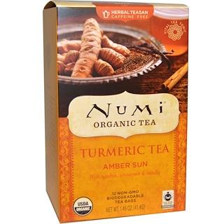 Numi Tea, Organic, Turmeric Tea, Amber Sun, Caffeine Free, 12 Tea Bags, 1.46 oz (41.4 g)
