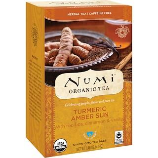 Numi Tea, Organic Tea, Herbal Tea, Turmeric Amber Sun, Caffeine Free, 12 Tea Bags, 1.46 oz (41.4 g)