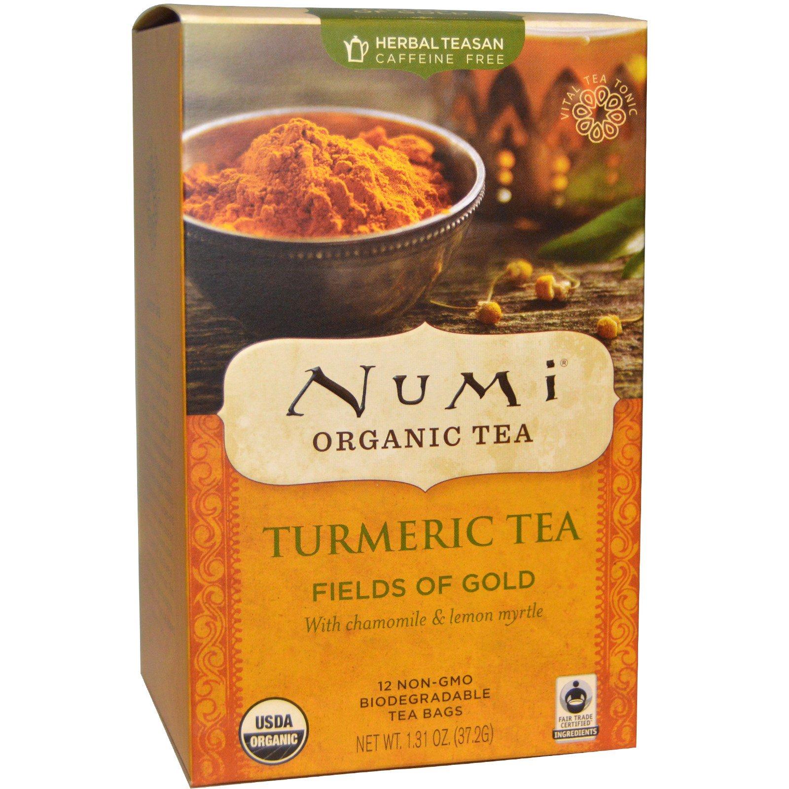 Numi Tea, Органический чай с куркумой, Fields of Gold , 12 пакетиков, 1,31 унции (37,2 г)