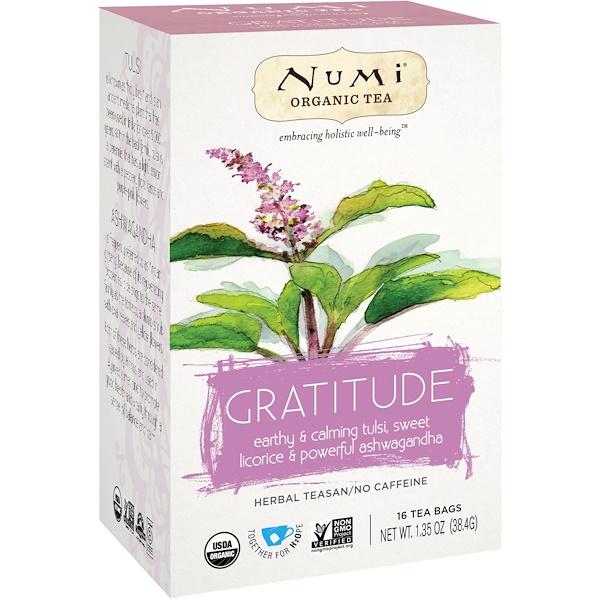 :Numi Tea, Organic Tea, Herbal Teasan, Gratitude, No Caffeine, 16 Tea Bags, 1、35 oz (38、4 g)