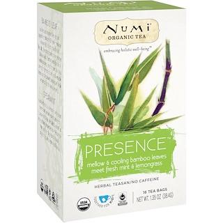 Numi Tea, Organic Tea, Herbal Teasan, Presence, No Caffeine, 16 Tea Bags, 1.35 oz (38.4 g)
