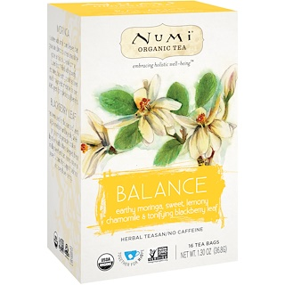 Numi Tea, Organic Tea, Herbal Tea, Balance, 16 Tea Bags, 1.30 oz (36.8 g)