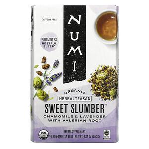 Numi Tea, Organic Herbal Teasan, Sweet Slumber, Caffeine Free, 16 Tea Bags, 1.24 oz (35.2 g)
