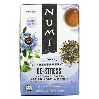 Купить Numi Tea Organic, De-Stress, Caffeine Free, 16 Tea Bags, 1.13 oz (32 g)