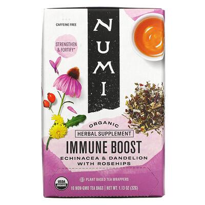 Купить Numi Tea Organic, Immune Boost, Caffeine Free, 16 Non-GMO Tea Bags, 1.13 oz (32 g)