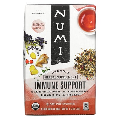 Купить Numi Tea Organic, Immune Support, Caffeine Free, 16 Non-GMO Tea Bags, 1.13 oz (32 g)