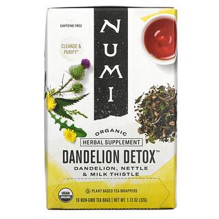 Numi Tea, Organic, Dandelion Detox, Caffeine Free, 16 Non-GMO Tea Bags, 1.13 oz (32 g)