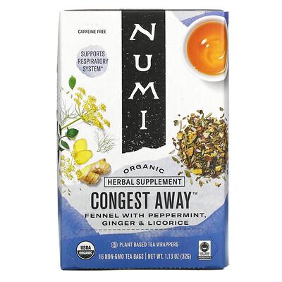 Купить Numi Tea Organic, Congest Away, Caffeine Free, 16 Non-GMO Tea Bags, 1.13 oz (32 g)