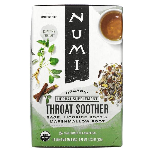 Numi Tea, Organic, Throat Soother, Caffeine Free, 16 Non-GMO Tea Bags, 1.13 oz (32 g)