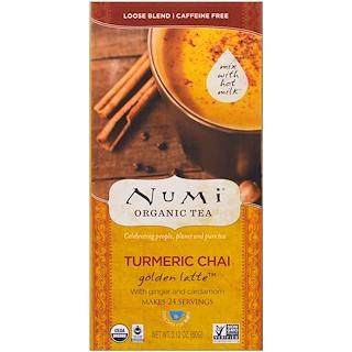 Numi Tea, Organic, Turmeric Chai, Golden Latte Tea, Caffeine Free, 2.12 oz (60 g)