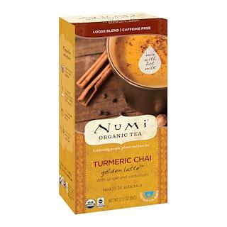 Numi Tea, Organic Tea, Loose Blend, Turmeric Chai, Golden Latte, Caffeine Free, 2.12 oz (60 g)