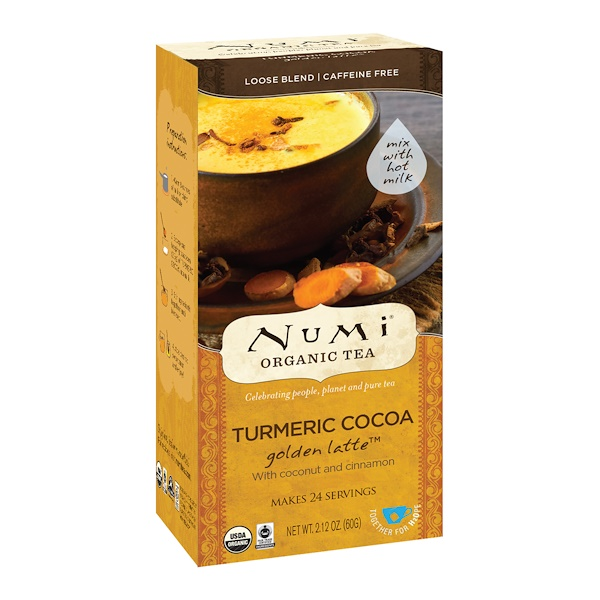 Numi Tea, Organic Tea, Loose Tea, Turmeric Cocoa, Golden Latte, Caffeine Free, 2.12 oz (60 g) (Discontinued Item)