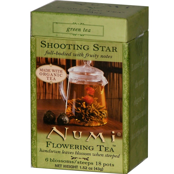 Numi Tea, Flowering Tea, Shooting Star, Green Tea, 6 Blossoms 1.52 oz (43 g) (Discontinued Item)