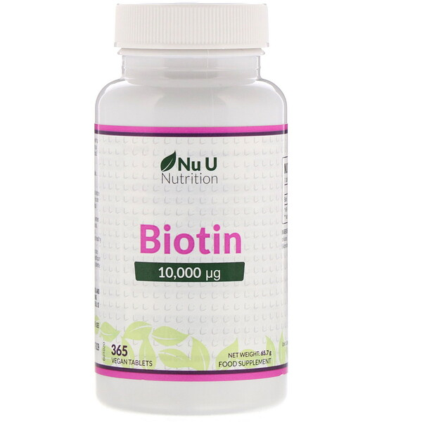 Nu U Nutrition, Biotin, 10,000 µp, 365 Vegan Tablets