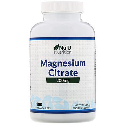 Nu U Nutrition Цитрат магния, 200мг, 180растительных таблеток